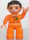 Minifig No: 47394pb133  Name: Duplo Figure Lego Ville, Male, Orange Legs, Flesh Hands, Orange Top with Recycle Logo, Black Hair, Brown Eyes