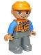 Minifig No: 47394pb156a  Name: Duplo Figure Lego Ville, Male, Dark Bluish Gray Legs, Orange Vest with Zipper and Pockets, Orange Construction Helmet, Oval Eyes