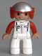 Minifig No: 47394pb161  Name: Duplo Figure Lego Ville, Male, White Legs, White Race Top with Octan Logo, Red Helmet