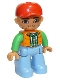 Minifig No: 47394pb166  Name: Duplo Figure Lego Ville, Male, Medium Blue Legs, Orange Vest, Dark Green Plaid Shirt, Bright Green Arms, Red Cap