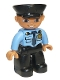 Minifig No: 47394pb169  Name: Duplo Figure Lego Ville, Male Police, Black Legs, Medium Blue Top with Badge, Black Hat