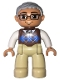 Minifig No: 47394pb174  Name: Duplo Figure Lego Ville, Male, Tan Legs, Reddish Brown Argyle Sweater Vest, White Arms, Light Bluish Gray Hair, Glasses