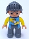 Minifig No: 47394pb178  Name: Duplo Figure Lego Ville, Male Castle, Dark Bluish Gray Legs, Blue and Yellow Chest with Crowned Eagle, Helmet