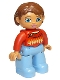 Minifig No: 47394pb180  Name: Duplo Figure Lego Ville, Female, Medium Blue Legs, Red Sweater with Diamond Pattern, Reddish Brown Hair, Blue Eyes