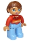 Minifig No: 47394pb180a  Name: Duplo Figure Lego Ville, Female, Medium Blue Legs, Red Sweater with Diamond Pattern, Reddish Brown Hair, Blue Oval Eyes