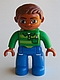 Minifig No: 47394pb191  Name: Duplo Figure Lego Ville, Male, Blue Legs, Green Top with Pen, Reddish Brown Hair