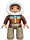 Minifig No: 47394pb200  Name: Duplo Figure Lego Ville, Male, Dark Tan Legs, Reddish Brown Hooded Parka, Brown Eyes