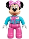 Minifig No: 47394pb202  Name: Duplo Figure Lego Ville, Minnie Mouse, Medium Azure Aviator Jacket with Polka Dot Scarf