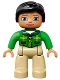 Minifig No: 47394pb203  Name: Duplo Figure Lego Ville, Female, Tan Legs, Green Top with Tartan Pattern, Black Hair