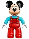 Minifig No: 47394pb204  Name: Duplo Figure Lego Ville, Mickey Mouse, Red Overalls with Medium Azure Top