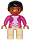 Minifig No: 47394pb214  Name: Duplo Figure Lego Ville, Female, Tan Legs, Magneta Jacket and Pink Blouse Pattern, Black Hair, Brown Eyes