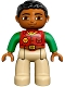 Minifig No: 47394pb216  Name: Duplo Figure Lego Ville, Male, Tan Legs, Red Shirt, Black Hair, Bright Green Arms