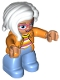 Minifig No: 47394pb221  Name: Duplo Figure Lego Ville, Female, Medium Blue Legs, Orange Jacket, Striped Sweater, White Hair