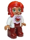 Minifig No: 47394pb226  Name: Duplo Figure Lego Ville, Female, Dark Red Legs, White Top with Bright Pink Stripes and Watermelon Pattern, Green Eyes, Red Hair