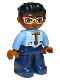 Minifig No: 47394pb227  Name: Duplo Figure Lego Ville, Male, Dark Blue Legs, Bright Light Blue Top with Medium Blue Sleeves and Tie Pattern, White Glasses, Black Hair