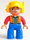 Minifig No: 47394pb231a  Name: Duplo Figure Lego Ville, Male, Blue Legs, Orange Vest, Dark Green Plaid Shirt, Red Arms, Yellow Cap with Headset, Oval Eyes