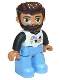 Minifig No: 47394pb233  Name: Duplo Figure Lego Ville, Male, Medium Blue Legs, White Top with Triangles, Black Arms, Reddish Brown Hair, Beard