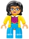 Minifig No: 47394pb248  Name: Duplo Figure Lego Ville, Female, Medium Azure Legs, Yellow Jacket, Magenta Top, Black Hair