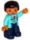 Minifig No: 47394pb249  Name: Duplo Figure Lego Ville, Female Pilot, Dark Blue Legs, Medium Azure Top with Red Tie, Black Hair
