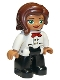 Minifig No: 47394pb256  Name: Duplo Figure Lego Ville, Female, Black Legs, White Chefs Top with Red Scarf and Reddish Brown Hair