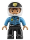 Minifig No: 47394pb261  Name: Duplo Figure Lego Ville, Male Police, Black Legs, Dark Azure Top with Badge and Radio, White Helmet with Black Front and Badge