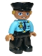 Minifig No: 47394pb263  Name: Duplo Figure Lego Ville, Male Police, Black Legs, Medium Azure Top with Badge and Epaulets, Black Hat with Yellow Hair