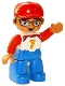 Minifig No: 47394pb267  Name: Duplo Figure Lego Ville, Male, Blue Legs, White Top with Number 7 and Red Arms, Reddish Brown Hair, Red Cap