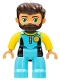 Minifig No: 47394pb268  Name: Duplo Figure Lego Ville, Male, Medium Azure Diving Suit, Yellow Arms, Reddish Brown Hair, Beard