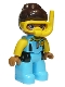 Minifig No: 47394pb269  Name: Duplo Figure Lego Ville, Female, Medium Azure Diving Suit, Yellow Arms, Reddish Brown Hair, Yellow Diving Mask
