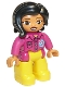 Minifig No: 47394pb271  Name: Duplo Figure Lego Ville, Female, Yellow Legs, Magenta Shirt  with Flower, Black Hair