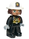 Minifig No: 47394pb273  Name: Duplo Figure Lego Ville, Female Firefighter, Black Legs, Black Jacket with Safety Harness, White Helmet with Silver Fire Badge and Radio, Green Eyes