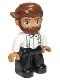 Minifig No: 47394pb280  Name: Duplo Figure Lego Ville, Male, Black Legs, White Top with Light Aqua Suspenders, Reddish Brown Hair, Beard