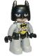 Minifig No: 47394pb287  Name: Duplo Figure Lego Ville, Batman, Black Cowl, Light Bluish Gray Suit and Legs