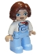 Minifig No: 47394pb307  Name: Duplo Figure Lego Ville, Female, Bright Light Blue Legs with Overalls, White Top, Reddish Brown Hair
