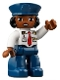 Minifig No: 47394pb320  Name: Duplo Figure Lego Ville, Female Pilot, Dark Blue Legs, White Top with Red Tie, Dark Blue Hat with Black Hair