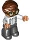 Minifig No: 47394pb322  Name: Duplo Figure Lego Ville, Male, Black Legs, White Top with Light Aqua Suspenders, Dark Brown Glasses, Reddish Brown Hair