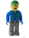 Minifig No: 4j003  Name: Construction Worker with Blue Shirt, Green Vest and Cap, Sunglasses and Moustache