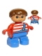 Minifig No: 6453pb004  Name: Duplo Figure, Child Type 2 Boy, Blue Legs, Red Top with White Stripes and Blue Overalls with One Strap
