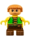 Minifig No: 6453pb009  Name: Duplo Figure, Child Type 2 Boy, Brown Legs, Green Vest with Brown Straps and Belt with Sash