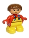 Minifig No: 6453pb011  Name: Duplo Figure, Child Type 2 Girl, Yellow Legs, Red Top with Yellow Overalls and Hearts on Straps