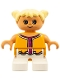 Minifig No: 6453pb019  Name: Duplo Figure, Child Type 2 Girl, White Legs, Orange and Dark Pink Top , Yellow Hair Pigtails