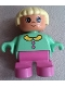 Minifig No: 6453pb029  Name: Duplo Figure, Child Type 2 Girl, Dark Pink Legs, Medium Green Top with Buttons and Collar, Light Yellow Hair