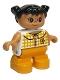 Minifig No: 6453pb035  Name: Duplo Figure, Child Type 2 Girl, Medium Orange Legs, Checkered Blouse, Black Hair Pigtails