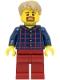 Minifig No: LLP003a  Name: LEGOLAND Park Male, Dark Blue Plaid Button Shirt Pattern, Dark Tan Hair with Slight Widow's Peak