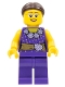 Minifig No: LLP005  Name: LEGOLAND Park Female, Dark Purple Blouse with Gold Sash and Flowers, Dark Brown Hair