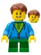 Minifig No: LLP007  Name: LEGOLAND Park Boy with Reddish Brown Hair, Hoodie with Zipper over Lime and Green Striped Shirt and Green Legs