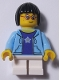 Minifig No: LLP009  Name: LEGOLAND Park Girl with Black Bob Cut Hair, Bright Light Blue Hooded Sweatshirt Open with Purple Shirt with Silver Star Pattern and White Short Legs