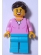 Minifig No: LLP012  Name: LEGOLAND Park Female with Dark Brown Ponytail, Bright Pink Shirt, Medium Azure Legs