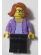 Minifig No: LLP013  Name: LEGOLAND Park Female with Dark Orange Short Hair, Medium Lavender Shirt, Black Legs