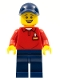 Minifig No: LLP019  Name: LEGOLAND Park Worker Male, Smiling, Dark Blue Hat, Red Polo Shirt with 'LEGOLAND' on Back and Dark Blue Legs